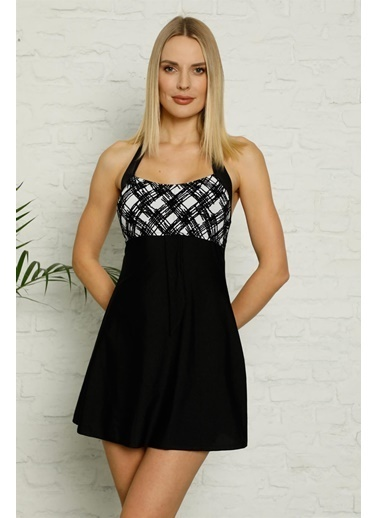 Akbeniz Şortlu Likralı Elbise Tesettür Mayo 28191 Lacivert